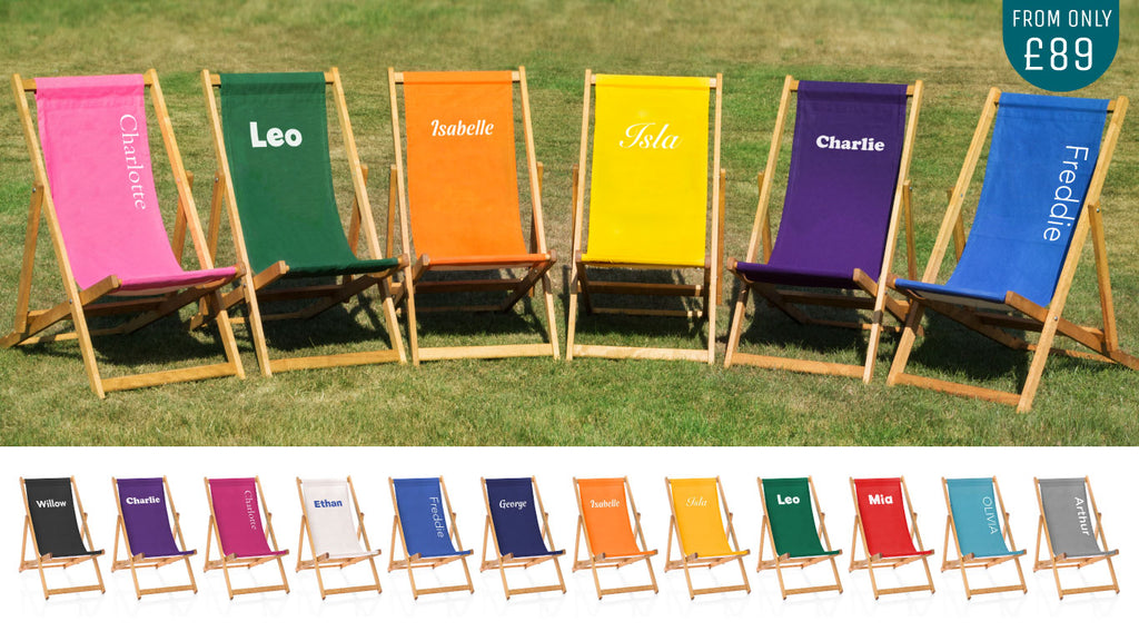 Personalised deckchairs with a choice of 12 colour slings from £89