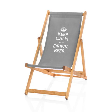 Hardwood Deckchairs - Keep Calm and Drink Beer