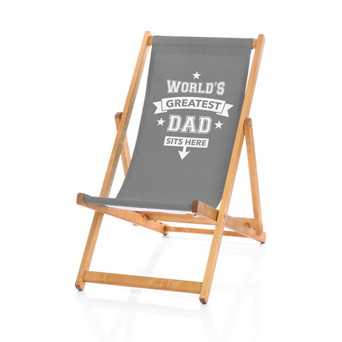 Hardwood Deckchairs - World's Greatest Dad Sits Here