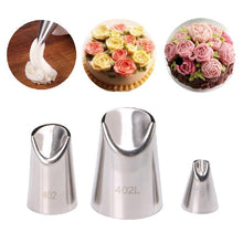 Load image into Gallery viewer, 3Pcs Stainless Steel Flower Tips Nozzle Cake Cream Pastry Icing Decorating DIY