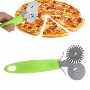 1PC Double Roller Pizza Knife Cutter Pastry Pasta Dough Crimper Wheel Rolling Kitchen Slicer Pastry Pizza Cutting Tools Hot C42