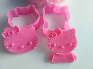 2Pcs/Set Hello Kitty Mickey Shape Cookie Mould Plastic Sugar Fondant Cake Mold Biscuit Cookie Cutters Cookie Tools