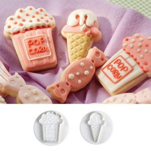 4Pcs/set candy makeup mirror Shape Fondant cutter plastic cake/cookie/buscuit cutter plunger mold fondant cake decorating tools
