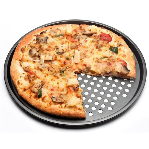 Carbon Steel Nonstick Pizza Baking Pan Tray 32cm Pizza Plate Dishes Holder Bakeware Home Kitchen Baking Tools Accessories-Black