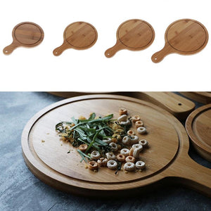 Durable Round Wooden Pizza Paddle Serving Board Making Peel Cutting Tray 4 Sizes 6/7/8/9 inches