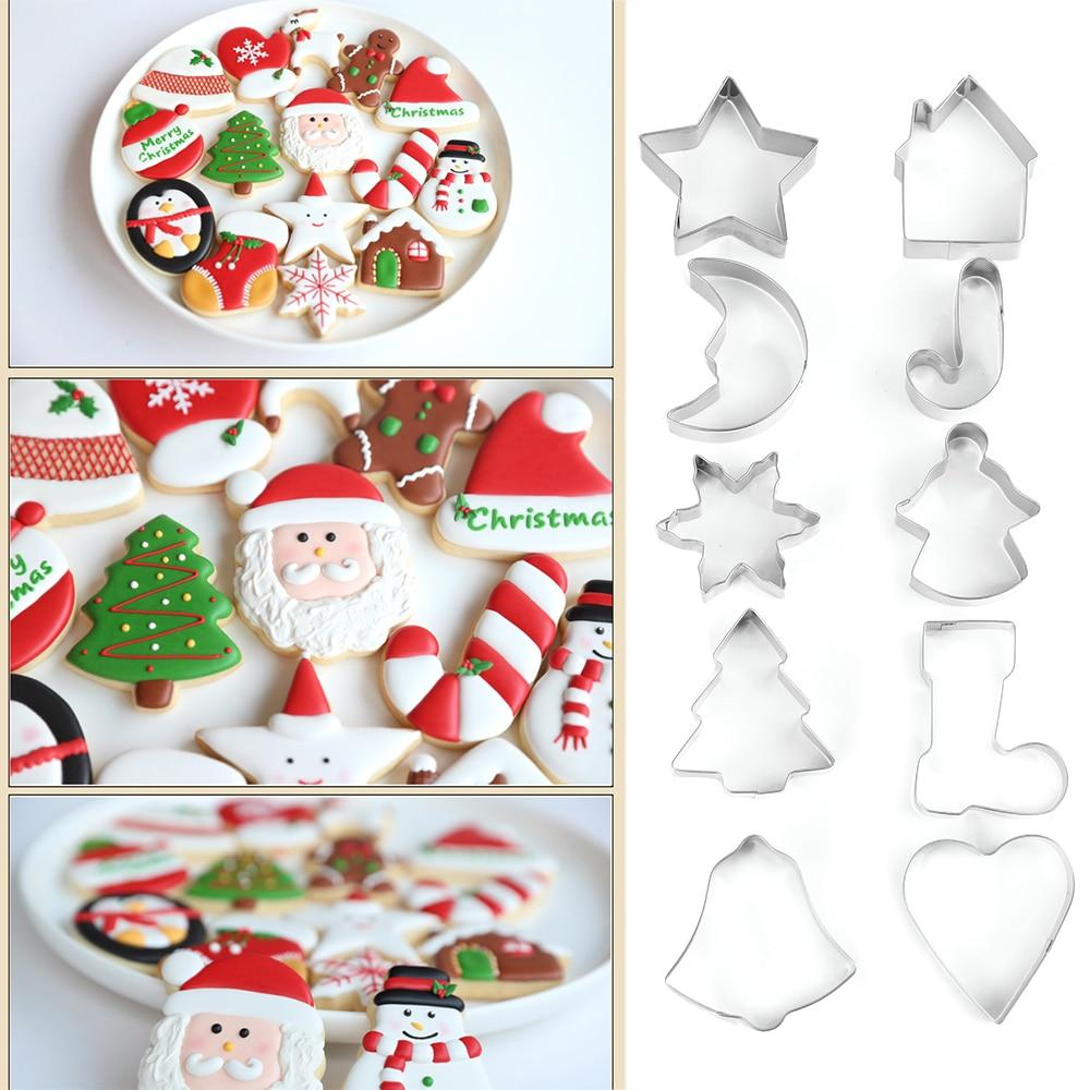 10 Pcs/Set New Bakeware Handmade Mold Christmas Cookies Cutter Biscuit Mould Set Sugar Arts Fondant Cake Decoration Tools