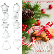 Load image into Gallery viewer, 10 Pcs/Set New Bakeware Handmade Mold Christmas Cookies Cutter Biscuit Mould Set Sugar Arts Fondant Cake Decoration Tools