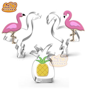 Creative Cookie Cutter Mold Flamingo Pineapple Shape Stainless Steel Biscuit Fondant Cake Moulds Cake Mold Baking kitchen Tools