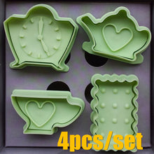 Load image into Gallery viewer, Hearts Clock Shape Cookies Cutter Molds Plastic Biscuit Fondant Cutter Plunger Stamps Kitchen Cake Decorating Tools 4Pcs/Set