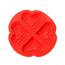 Load image into Gallery viewer, 1 pcs 4-Hold Heart Shape Waffle Mold Food Grade Silicone Muffin Cake Mold Cake Decorating Tools