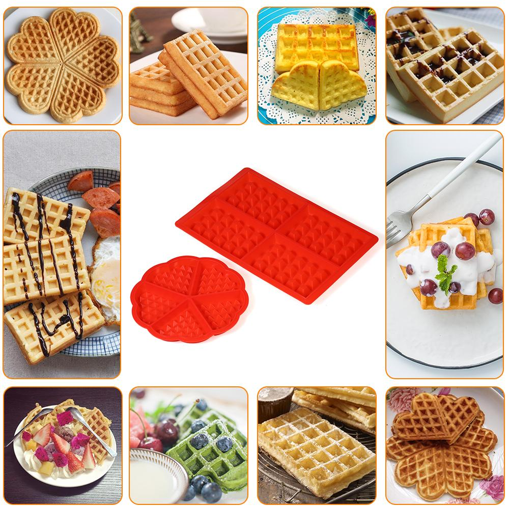 Grid Silicone Waffle Mould Mold Pudding Jelly Chocolate Waffle Mould Mold Tray Baking Tool Round + Rectangle