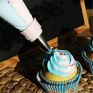 2 Colors Cream Nozzle Pastry Decorating Bag Free Gift A Set of Piping Nozzle Converter Converter Cake Decorating Tools 1Set