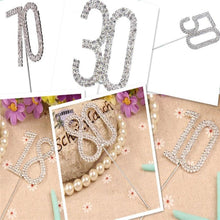 Load image into Gallery viewer, Rhinestone Crystal Flase Diamond Flash Dual Cake Toppers Number 18 /30~80
