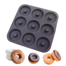 Load image into Gallery viewer, Professional Grade 9 Cavity Donut Pan-100% Top Silicone Baking Pan, Mold,Non-Stick,Bagels/Muffins & Other Delicacies Bakeware