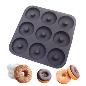 Professional Grade 9 Cavity Donut Pan-100% Top Silicone Baking Pan, Mold,Non-Stick,Bagels/Muffins & Other Delicacies Bakeware