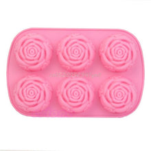 Load image into Gallery viewer, 6 Rose Flowers 3D Silicone  Soap  Mould DIY Decoration Tool Bakeware#T025#