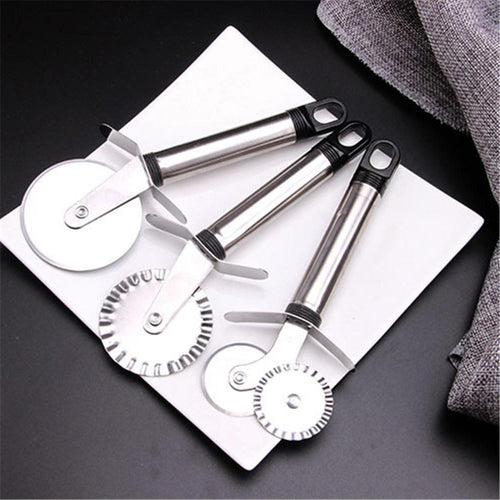 4 Patterns Stainless Steel Pizza Cutter Double Roller Pizza Knife Cutter Pastry Pasta Dough Crimper Kitchen Pizza Tools