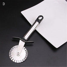 Load image into Gallery viewer, 4 Patterns Stainless Steel Pizza Cutter Double Roller Pizza Knife Cutter Pastry Pasta Dough Crimper Kitchen Pizza Tools