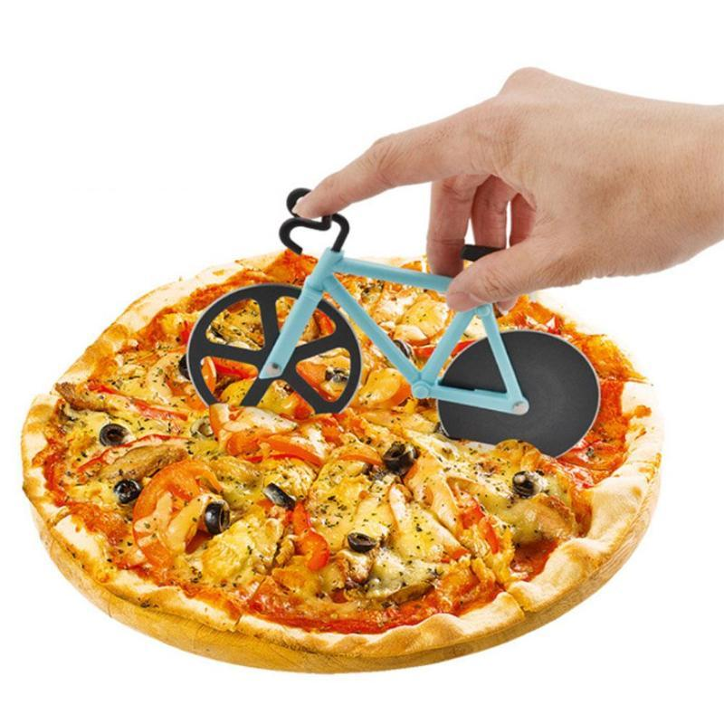 Bicycle Stainless Steel Blades Non-Stick Pizza Cutter Cutting Wheels Slicer Kithen Tool with Stand Holder Pizza Cutter Tool