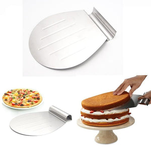 HOT-1PCS Baking Tools Stainless Steel Transfer Cake Tray Moving Plate Bread Pizza Blade Shovel Bakeware Pastry Scraper