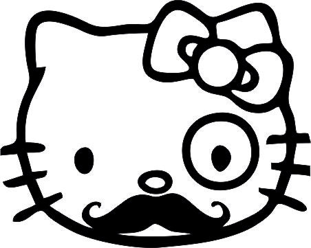 Hello Kitty Moustache 12cmx10cm