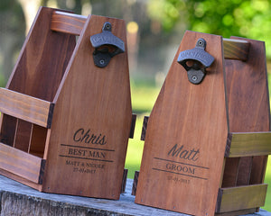 SET OF 6 - Beer Caddies Groomsmen Gifts