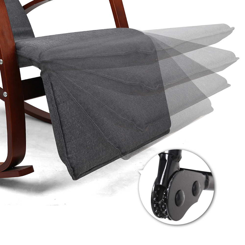 Fabric Rocking Armchair with Adjustable Footrest - Charcoal