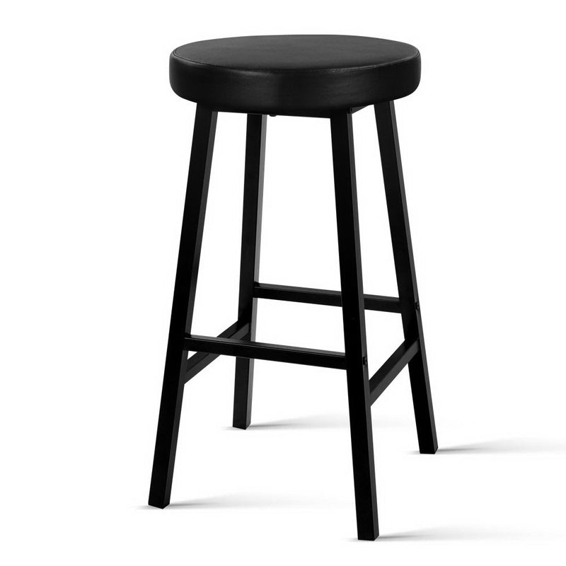 Artiss 2 x Vintage Kitchen Bar Stools Industrial Leather Bar Stool Black Retro