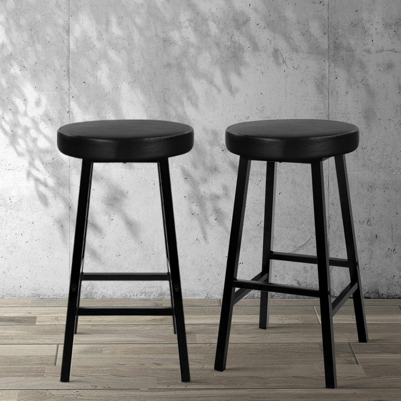2 x Vintage Kitchen Bar Stools Industrial Leather Black - Retro