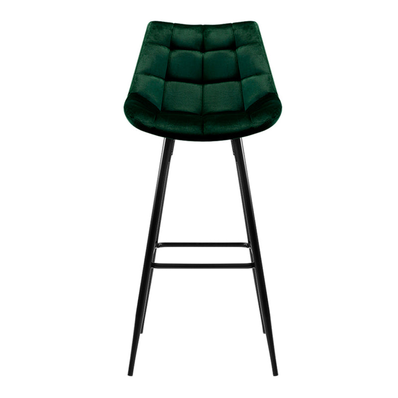 Set of 2 - Velvet Bar Stools - Green