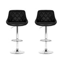 Set of 2 x Leather Chrome Gas Lift Bar Stools - Black