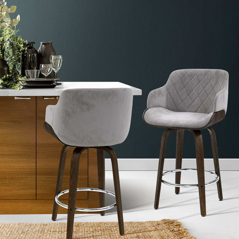 1 x Kitchen Bar Stools Velvet Fabric - Grey