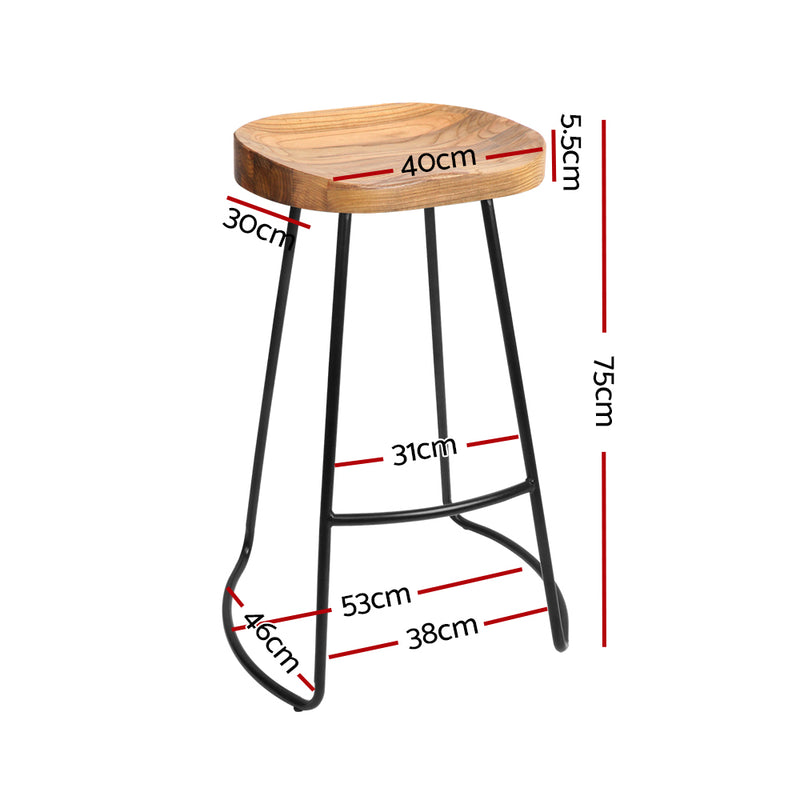 Set of 2 - Wooden Backless Bar Stools - Natural