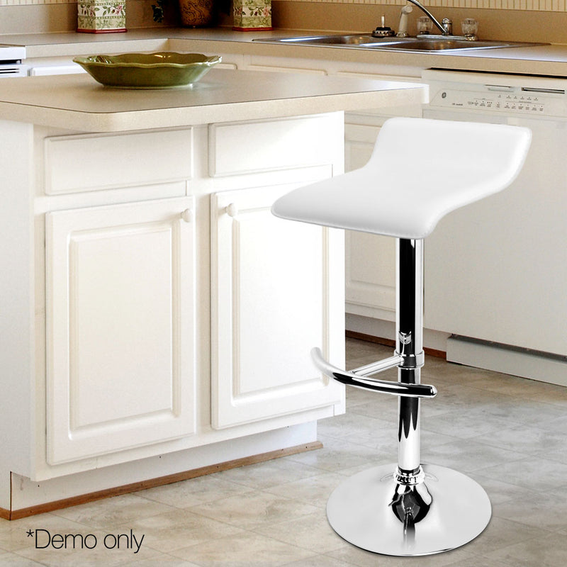 2 x PU Leather Bar Stools - White