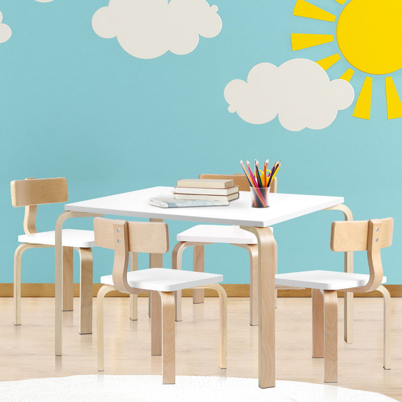 5 Piece Kids Table and Chair Set - Wooden