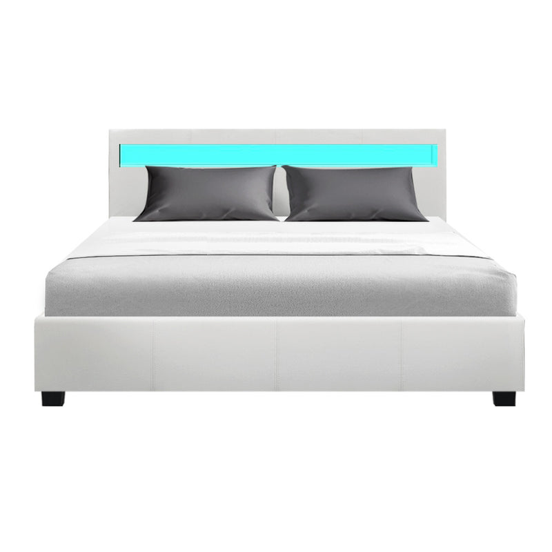 QUEEN Size - Gas Lift LED Bed Frame Queen With Storage - White Leather