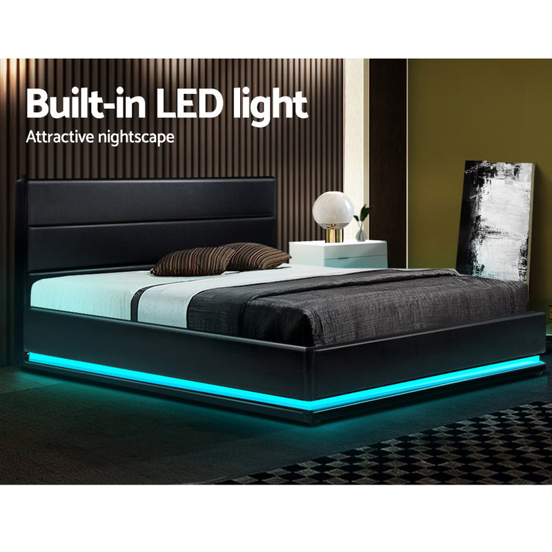 KING Size - RGB LED Gas Lift Bed Frame - Black Leather