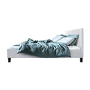DOUBLE Size - Bed Frame Base Mattress Platform - White Leather Wooden