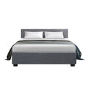 DOUBLE Size - Fabric and Wood Bed Frame - Grey
