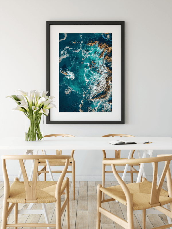 Aerial Beach Ocean Shore Wall Art Print