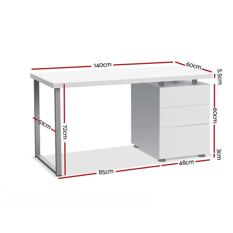 Metal Desk with 3 Drawers - White