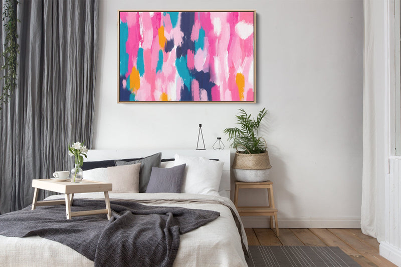 Pink and blue abstract wall art print