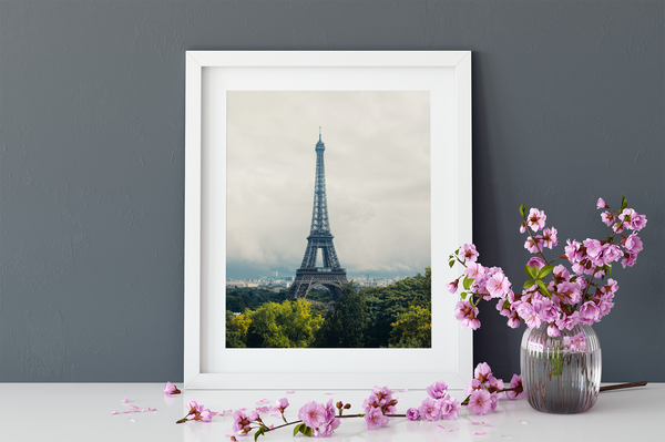 The Eiffel Tower - Paris Black and White Stretched Canvas Wall Art