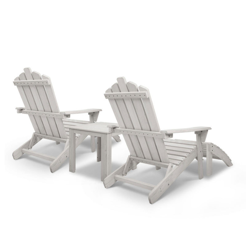 5pc Outdoor Wooden Beach Chair and Table Set - Beige White