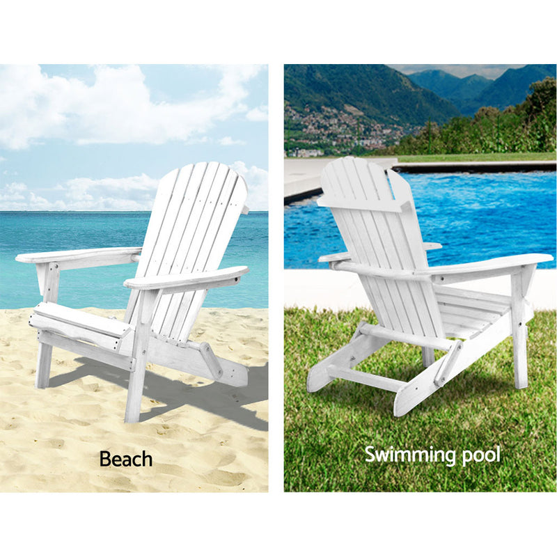 3 Piece Outdoor Beach Chair and Table Set - White