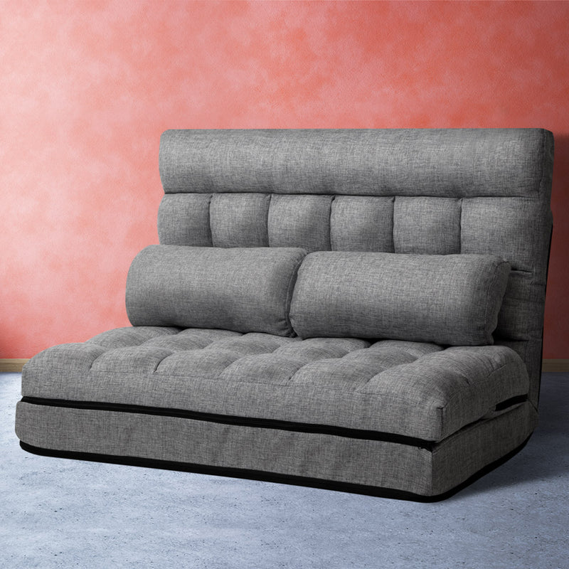 Lounge Sofa Bed 2-seater Floor Folding Fabric Grey