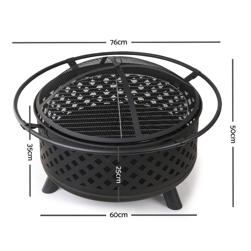 30 Inch Portable Outdoor Fire Pit and BBQ - Black