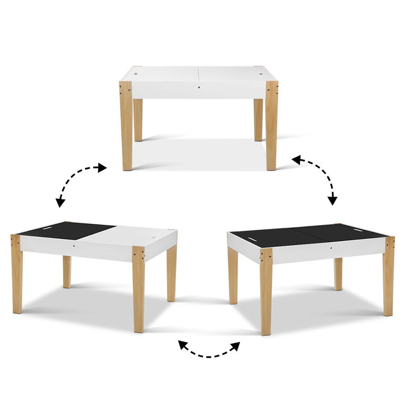 Kids Table and Chair Storage Desk - White & Natural