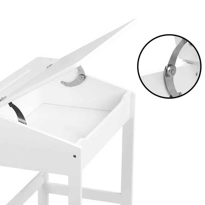 Kids Lift-Top Desk and Stool - White