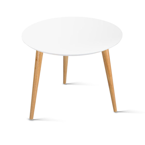 Artiss Round Side Table - White